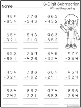 math worksheet : 3 digit subtraction without regrouping worksheets by learning desk : Subtraction Without Regrouping Worksheets