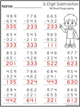 3 Digit Subtraction Without Regrouping-Distance Learning ...