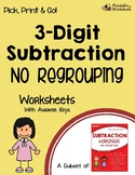 Subtracting With No Regrouping, 3 Digits Worksheets