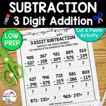 3 Digit Subtraction Worksheets