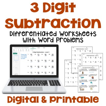 3 Digit Subtraction Worksheets with Regrouping and Word Problems