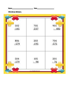 3-Digit Subtraction across one zero