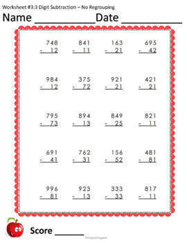 3 Digit Subtraction no Regrouping