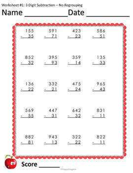 3 Digit Subtraction Worksheets no Regrouping