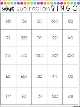 3-Digit Subtraction (no regrouping) Bingo!
