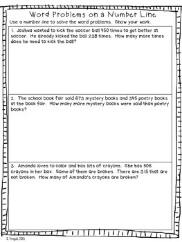 3 Digit Subtraction on the Number Line ---Worksheets