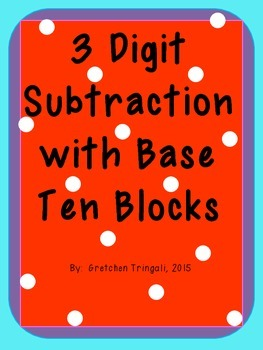 3 digit subtraction using b by gretchen tringali teachers pay teachers. Black Bedroom Furniture Sets. Home Design Ideas