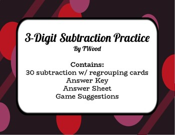3-Digit Subtraction w/ Regrouping Practice Cards - Color and Black/White