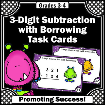 3 Digit Subtraction with Regrouping, 3rd Grade Math Centers, Subtraction Games