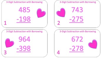 3-Digit Subtraction with Borrowing Task Cards {Valentines Day Themed}