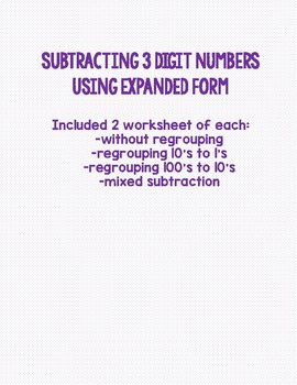 3 Digit Subtraction with Expanded Form