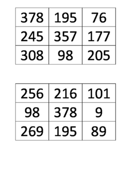3-Digit Subtraction with Regrouping BINGO