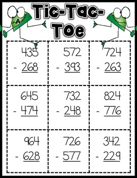 3 Digit Subtraction with Regrouping Math Games