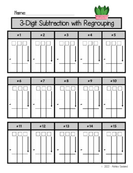 3-Digit Subtraction with Regrouping Practice Worksheet