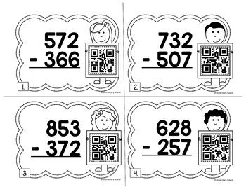 3-Digit Subtraction with Regrouping QR Task Cards