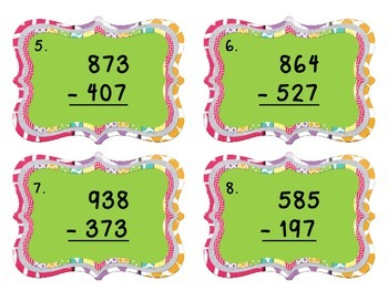 3-Digit Subtraction with Regrouping Scoot Game