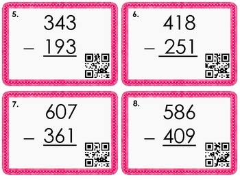 3-Digit Subtraction with Regrouping Task Cards with QR Code Option