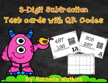 3-Digit Subtraction with Regrouping Task Cards with QR Codes