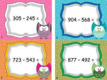 3 Digit Subtraction with Regrouping Task Cards with Student Answer Sheet
