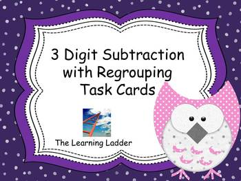 3 Digit Subtraction with Regrouping Task Cards with Studen