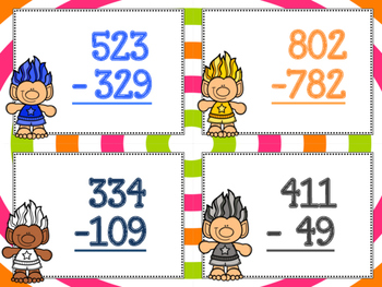 3 Digit Subtraction with Regrouping - Trolls Version!