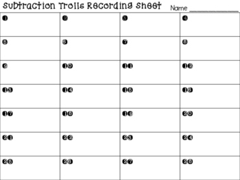 Task Cards 3 Digit Subtraction with Regrouping- Trolls