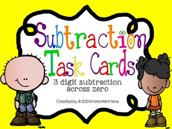 3 Digit Subtraction with Zero Task Cards
