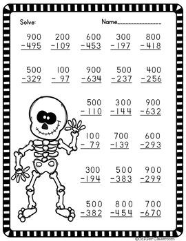 3 Digit Subtraction Across Zeros-Halloween Themed