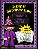 3 Digit Subtraction Across Zeros-Halloween Themed