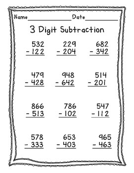 3 Digit Subtraction with and without Regrouping