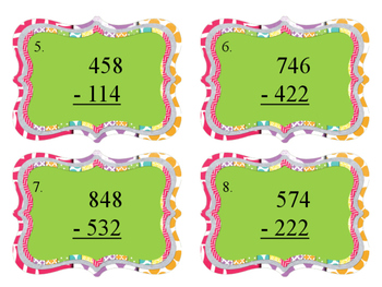 3-Digit Subtraction without Regrouping Scoot Game