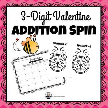 3-Digit Valentine Addition Spin Math Game