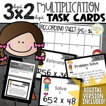 3-Digit X 2-Digit Multiplication Task Cards