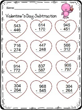3 Digit Addition & Subtraction worksheet Valentine's Day Theme | TpT