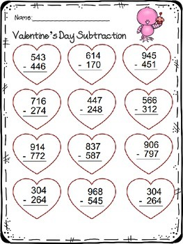 digit addition  subtraction worksheet valentines day theme  tpt  digit addition  subtraction worksheet valentines