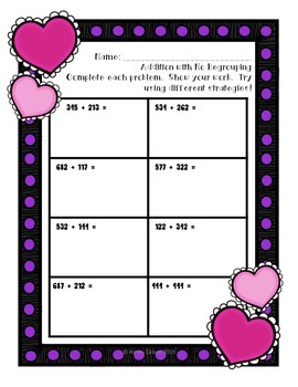 Valentine Theme 3 Digit addition and subtraction