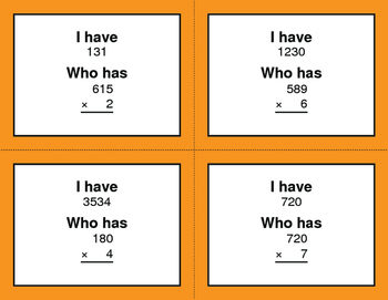 3-Digit and 1-Digit Multiplication - I Have, Who Has