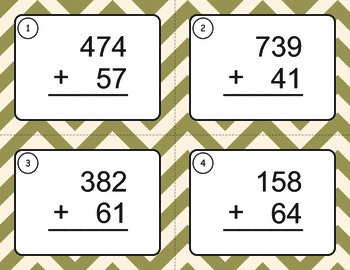 3-Digit and 2-Digit Addition Task Cards