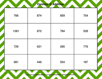3-Digit and 2-Digit Addition - Connect 4 Game