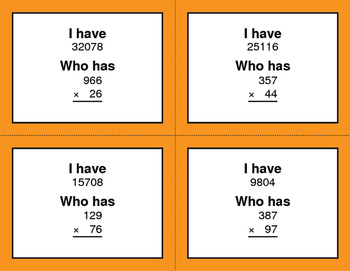 3-Digit and 2-Digit Multiplication - I Have, Who Has