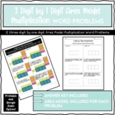 3 Digit by 1 Digit Area Model Word Problems Printable and