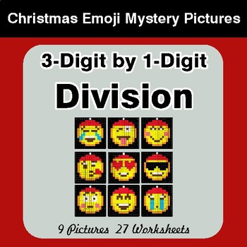 3-Digit by 1-Digit Division - Christmas EMOJI Color-By-Number Mystery Pictures