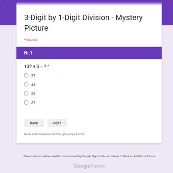 3-Digit by 1-Digit Division - Christmas EMOJI Mystery Picture - Google Forms