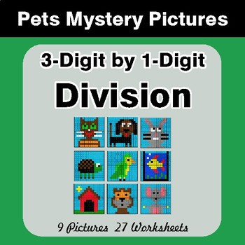 3-Digit by 1-Digit Division - Color-By-Number Mystery Pictures - Pets Theme
