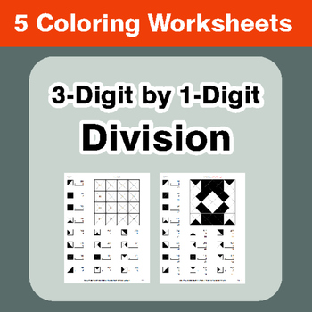 3-Digit by 1-Digit Division - Coloring Worksheets