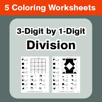 3-Digit by 1-Digit Division - Coloring Worksheets