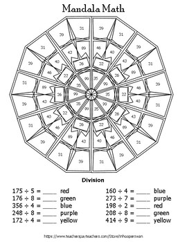 3-Digit by 1-Digit Division Mandala Math Color by Number