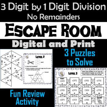 3 Digit by 1 Digit Division Without Remainders Escape Room Math
