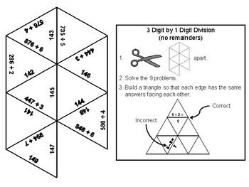 3 Digit by 1 Digit Division (no Remainders): Math Tarsia Puzzle