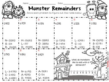 3-Digit by 1-Digit Division with Remainders Monster Mischief